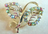 Vintage Aurora Borealis Rhinestone Set Leaf Brooch By Exquisite